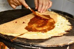 shanghai street food: Chinese pancake Bing Shanghai street food
