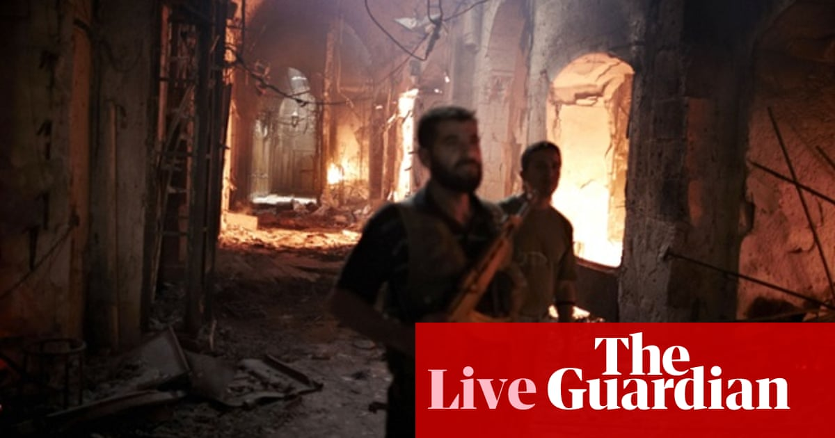 Syria crisis: Aleppo's historic souk burns as violence continues