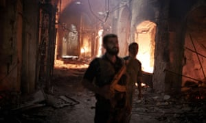 Aleppo's historical neighbourhood burns as ssad's military launches a campaign to retake control of the city.