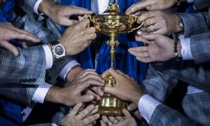 Members of Team Europe hold the Ryder Cup