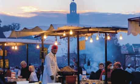 Food stalls in Jamaa el Fna square in Marrakech, Morocco