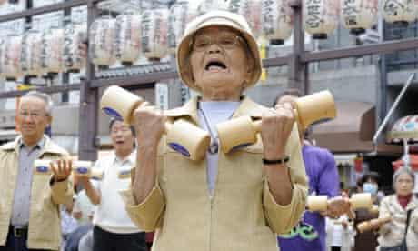 Japan elderly people work out