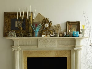 Homes: Russain House: Painting and other paraphernalia on a mantlepiece