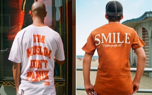 Big Picture: T-Shirts: Images on the backs of t-shirts: I am a Muslim, don't panic. Smile.