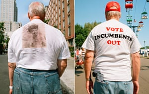 Big Picture: T-Shirts: Images on the backs of t-shirts: Sepia film star. Vote Incumbents Out