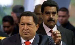 Hugo Chávez and Nicolas Maduro