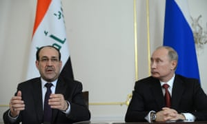 Russia's president Vladimir Putin and Iraqi prime minister Nouri al-Maliki met at the Novo-Ogaryovo residence outside Moscow, Russia on Wednesday.