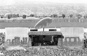 Led Zeppelin: The stone henge themed stage set at the Oakland Coliseum concert