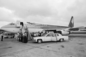 Led Zeppelin: Boarding the Led Zeppelin airplane at Oklahoma City airport in 1978