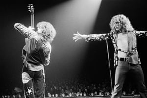Led Zeppelin: Jimmy Page and Robert Plant on stage in 1975