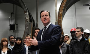 Prime Minister, David Cameron, addressing apprentices