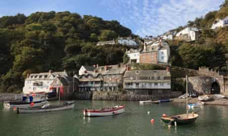 Clovelly sits on a steep hillside on the Devon coast