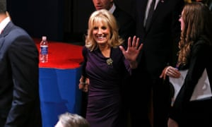 Jill Biden arrives in the debate hall before her husband takes part in the vice presidential debate in Danville, Kentucky.