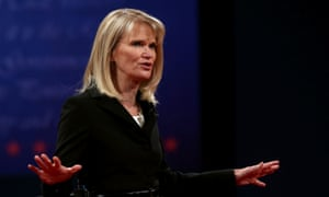 Debate moderator Martha Raddatz speaks on stage prior to the vice presidential debate at Centre College in Danville, Kentucky.