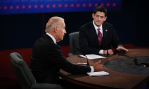 Joe Biden and Paul Ryan take part in the vice presidential debate at Centre College in Danville, Kentucky.