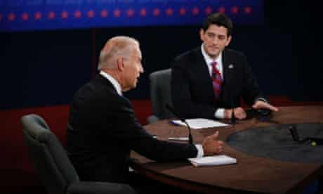 Joe Biden and Paul Ryan take part in the vice presidential debate at Centre College in Danville, Kentucky.