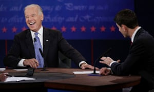 Vice president Joe Biden laughs as Paul Ryan makes a point in the debate.