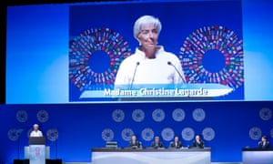 International Monetary Fund (IMF) Managing Director Christine Lagarde speaks at the IMF and World Bank annual meeting's plenary session at the Tokyo International Forum, October 12, 2012.