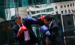 Richard Rouse and Brad Moreland of HSBC ahead of their Hedge Fund Fight Nite white collar charity boxing event in Hong Kong's financial district.