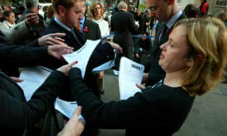 PR woman distributing press releases