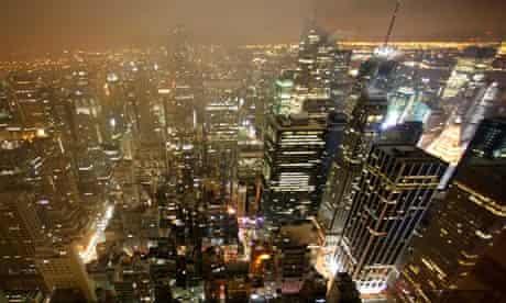 The New York skyline by night