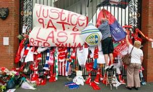 Hillsborough tributes at Shankly Gates at Anfield stadium
