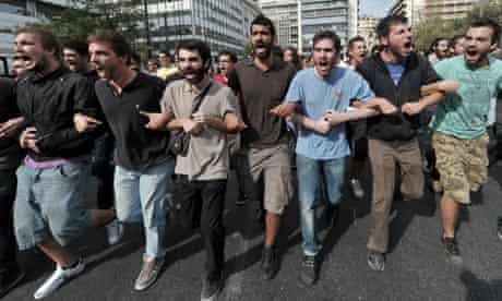 Greek students protest outside the finance ministry in Athens against austerity and unemployment