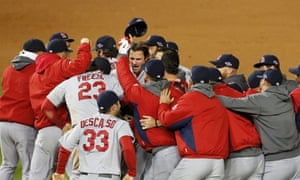 St. Louis Cardinals players celebrate after defeating the Washington Nationals in Game 5 of their MLB NLDS baseball series in Washington, October 12, 2012.  REUTERS/Jonathan Ernst (UNITED STATES  - Tags: SPORT BASEBALL) :rel:d:bm:TB3E8AD0D69OY