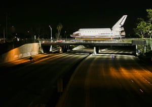Endeavour: The Space Shuttle Endeavour its way over the San Diego (405) Freeway