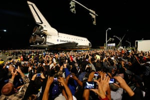 Endeavour: Spectators gather to take pictures of Endeavour