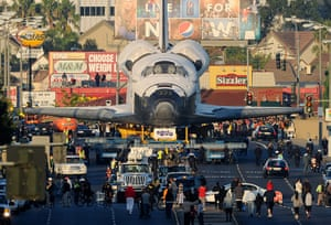 Space Shuttle: The space shuttle Endeavour is transported in convoy to The Forum arena