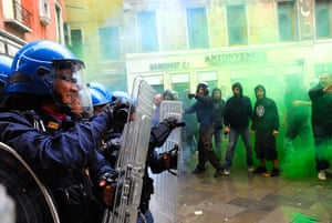 Global Noise Protests: Students go on strike against the austerity cuts in Venice