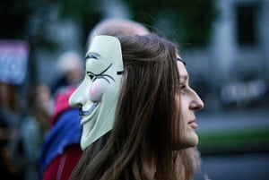 Global Noise Protests: A protester with a Guy Fawkes mask in Madrid