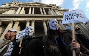 Global Noise Protests: Occupy London protesters hold a rally outside St Paul's Cathedral