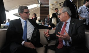 German Foreign Minister Guido Westerwelle talks to Syrian national council president Abdel Basset Sayda on Saturday in Istanbul. The two men attended talks with international envoy Lakhdar Brahimi and Turkish leaders.