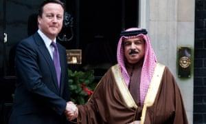 British prime minister David Cameron hosted King Hamad bin Issa al-Khalifa in Downing Street last December.