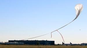 Felix Baumgartner: The capsule and attached helium balloon carrying Felix Baumgartner