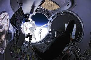 Skydive: Pilot Felix Baumgartner of Austria jumps out of the capsule