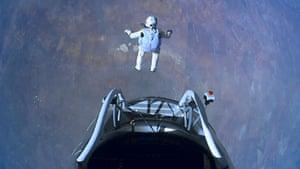 Skydive: Felix Baumgartner jumps out of the capsule