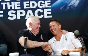 Skydive: Felix Baumgartner, right, shakes hands with Colonel Joe Kittinger