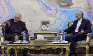 UN envoy on Syria, Lakhdar Brahimi,  talks with Iranian foreign minister Ali Akbar Salehi, during their meeting in Tehran Iran on Sunday