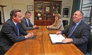 Prime Minister David Cameron And Scottish First Minister Alex Salmond  Independence Referendum Deal