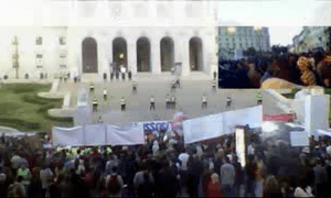 Protests outside Portugal's parliament, October 15 2012