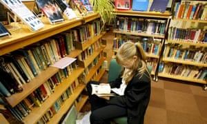 Pupil reading school library