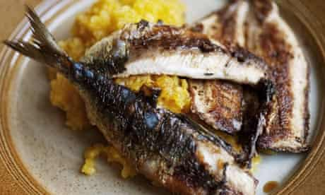 Grilled sardines, beetroot and horseradish mash