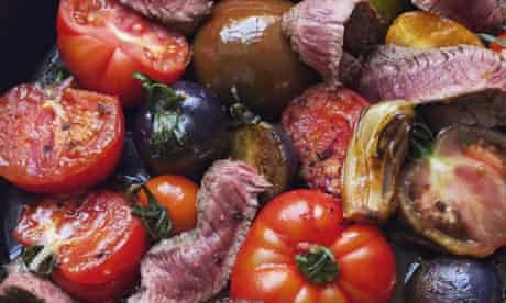 Tomatoes, charred onions and steak