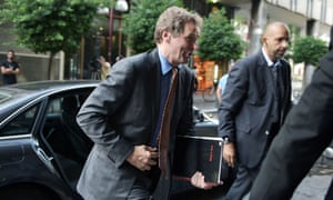 International Monetary Fund (IMF) mission chief Poul Thomsen arrives for a meeting with the labour minister in Athens on October 16, 2012.