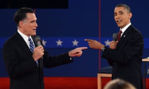 US president Barack Obama and Republican presidential candidate Mitt Romney spar in the second debate.
