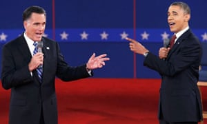Mitt Romney and Barack Obama in a direct exchange at the second presidential debate