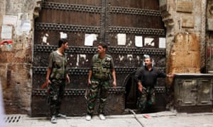 Members of the Free Syrian Army in the old part of Aleppo on Tuesday.